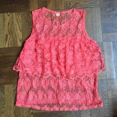Anthropologie lace top Only hearts for anthropologie... They just did a collab with GOOP! Coral lace top with layer over bust. Great with a tank or a bralette for night! Even a sexy number to sleep in! ;) Anthropologie Tops Tank Tops