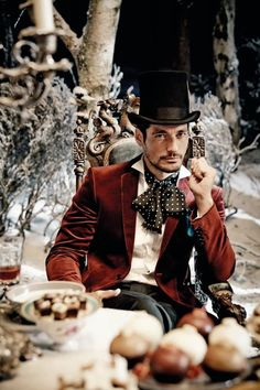 Glamour Magazine October 2013 - David Gandy in red - 'Alice in Wonderland' editorial theme
