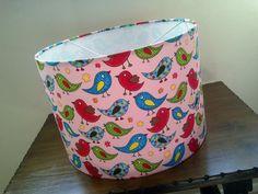 Tweet Tweet Bird Children's Lampshade - Dusty Pink background. Red green and blue #Tweetybirds design #DetolaAndGeek #NewOnFolksy #Lighting #HandmadeLamspade #LimitedEdition
