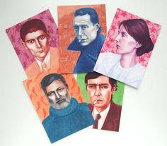 postcards with famous writers by Ellen Lambrichts (Studio EllenL)