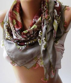 Turkish Shawl  Anatolians Scarf  with Lace Yemeni   by womann, $25.90