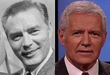Art Fleming and Alex Trebek, hosts of Jeopardy!