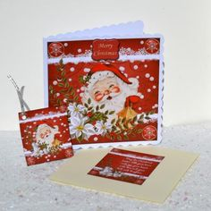 Vintage Santa Christmas Topper with Insert and Tags on Craftsuprint designed by Barbara Hiebert - made by Jackie Bullock - Design is printed onto best quality paper, main image added to base card using DST