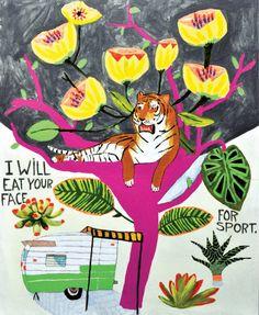 "Saatchi Art Artist Kelly Puissegur; Painting, ""Nice Tiger"" #art"