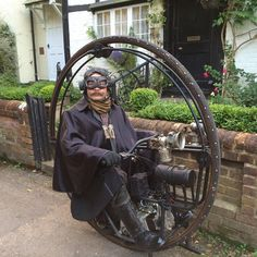 """Image """"The Red Max"""" created by Dr D M Southall, aug 2006 in Steampunk Style album Chat Steampunk, Steampunk Motorcycle, Costume Steampunk, Steampunk Gadgets, Steampunk Gears, Steampunk Design, Steampunk Fashion, Bike Fashion, Steampunk Clothing"""