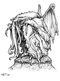 Cthulhu by Monkeypit.deviantart.com on @DeviantArt Star Monsters, Lovecraftian Horror, Eldritch Horror, Hp Lovecraft, Call Of Cthulhu, Gothic Horror, Illustrations, Fantasy Artwork, Dark Fantasy