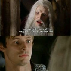"BBC Merlin | Arthur  ""Old Merlin"" Merlin totally take advantage of Arthur when he's ""old merlin"""