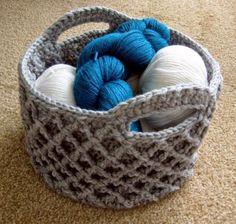 Blog laine tricot crochet | Planète Laine: Modèle panier au crochet gratuit: Diamond Trellis Basket d'Esther Chandler