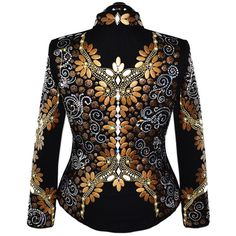Warm Tones Western Show Jacket: Ladies Large Western Show Jacket.   Deep black base with thousands of crystals, white pearl diamonds, mocha ovals, gold studs and mocha /black metal disks.