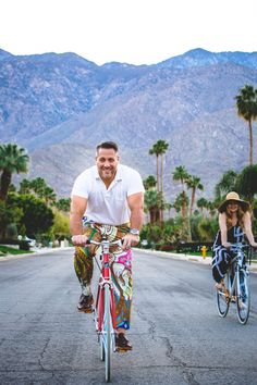 Biking in Palm Springs wearing Trina Turk.