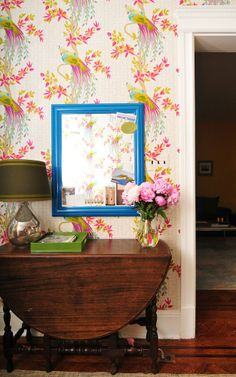Annie's Color-Splashed Home. Nina Campbell - Paradiso wallpaper in my foyer. bossy color   Annie Elliott interior design