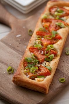 Tomato, Goat Cheese, Scallion Puff Pastry with an easy puff pastry recipe!