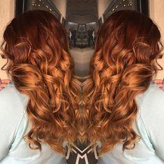Red ombre | auburn ombre | dark red hair | orange hair | fire hair | color melt | curly hair | transformation | ginger | wedding hair | prom hair |