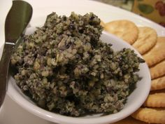 Kalamata Olive Tapenade (Spread or Dip) 1 cup kalamata olive (pitted) 1 cup pine nuts 3 garlic cloves 1 cups fresh parsley 1 tsp fresh rosemary cup olive oil black pepper (fresh ground) 1 cup black olive (pitted canned, decreases saltiness) Dip Recipes, Gourmet Recipes, Healthy Recipes, Healthy Food, Tapas Recipes, Greek Recipes, Vegan Food, Yummy Recipes, Yummy Food