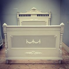 Henri II style antique French bed / Farrow & Ball palette - skimming stone, Elephant's Breath & Wimbourne White / Frenchfinds.co.uk