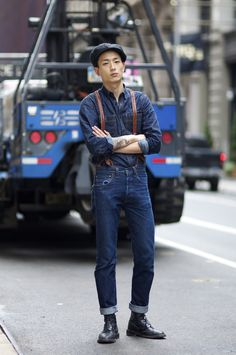 Rock this guy wearing double Denim workwear!