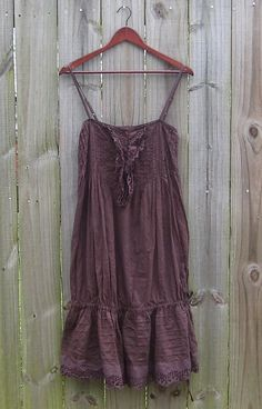 Used Modern PHOOL SUN DRESS Brown SIZE S 100% Cotton Made in India Sundress #PHOOL