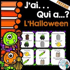 """This fun game is a great way to practice Halloween themed vocabulary! It features 24 playing cards to form """"un cercle magique"""". Give each student a card (or two if you have less than 24 students) and time how fast they can make it around the circle with this traditional game of """"J'ai . . ."""