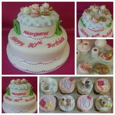 Time for tea  afternoon tea themed cake and cupcakes