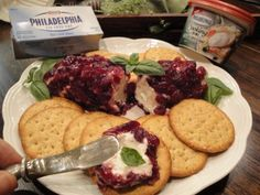Cranberry Italian Herb Cream Cheese Log with Crackers
