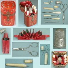Special Antique Lacquered Lady's Companion Sewing Set * English * Circa 1850