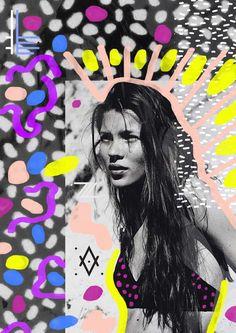 Kate Moss Mixed media collage www.vasarenar.com