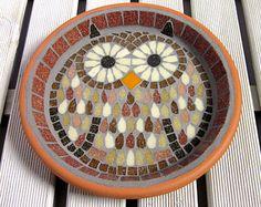 Sunbleached Ripple Mosaic Garden Bird Water Bath by JoSaraUK