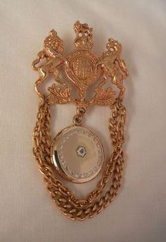 Chatelaine Lion Horse crest hanging GF Locket Brooch