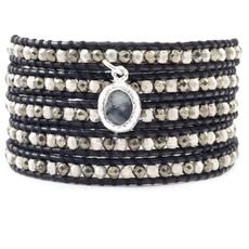 Pyrite and Silver Wrap Bracelet with Cameo Charm on Black Leather