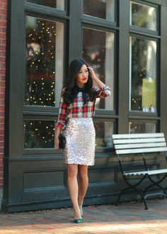 12/03/2015 Plaid, Bow + Sequins // Holiday office party outfit ideas   extra petite   J.Crew Factory sequin skirt 00p c/o, tartan popover shirt Burberry trench coat, Chanel bag, Manolo Blahnik BB pumps