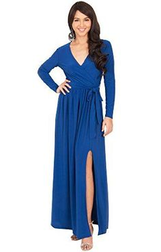 KOH KOH Womens Long Sleeve VNeck Cross Over High Slit Cocktail Evening Gown Maxi Dress Color Cobalt  Royal Blue Size Large  L  1214 *** Find out more about the great product at the image link.