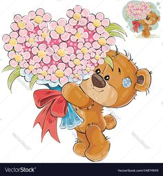Buy Vector Illustration of a Brown Teddy Bear Holding by vectorpocket on GraphicRiver. Vector illustration of a brown teddy bear holding in its paws a bouquet of flowers in the shape of a heart.