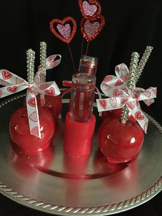 Strawberry apples with strawberry shot glasses