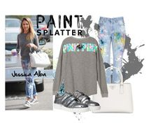"""Paint Splattered Jeans"" by shyyypieee ❤ liked on Polyvore featuring Rialto Jean Project, Prada, jessicaalba and paintsplatter"