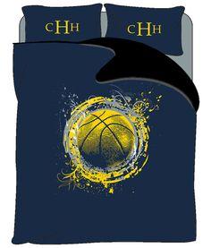 Personalized Basketball Splash Bedding  Shown by redbeauty on Etsy