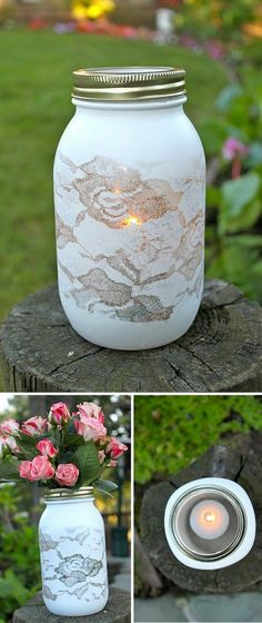 Spray paint over lace DIY mason jar vase. Oooh I might have to get out my gold, ivory and purple paints and tackle this DIY project. I Mason Jars Mason Jar Vases, Bottles And Jars, Mason Jar Crafts, Mason Jar Diy, Spray Paint Mason Jars, Jar Candles, Glass Jars, Uses For Mason Jars, Glass Votive