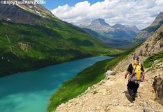A view of the 20-mile-long Gunsight Pass Trail in Glacier National Park.