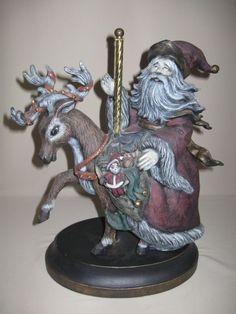 Figurine Vintage Ceramic Carousel Santa Riding His Reindeer With Presents 1990's