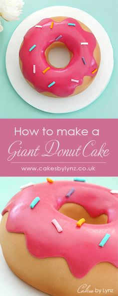 How to make a giant Donut / Doughnut cake by CakesbyLynz Step by step cake decorating video tutorial Donut Icing, Doughnut Cake, Cake Icing, Giant Birthday Cake, Giant Cake, Birthday Cakes, Birthday Parties, Cake Decorating For Kids, Cake Decorating Videos