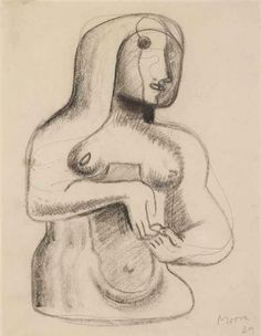 Drawing for Figure in Concrete Henry Moore