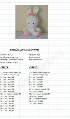 Amigurumi Kawaii Bunny - FREE Crochet Pattern / Tutorial in Spanish: