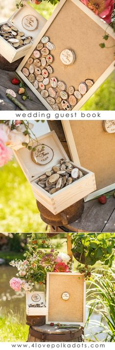 Rustic Alternative Guest Book, Memory Guest Book frame. Your wedding guests can sign on the birch bark slices! Each set includes: wooden frame with large slice of wood, wooden box with hearts, tented card with instructions for your guests, pen holder with pen #wedding