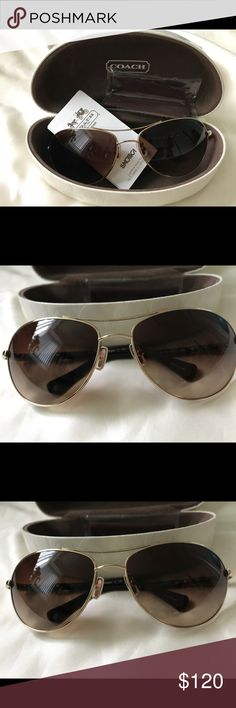 e343989277 Selling this Coach Allegra Aviator Sunglasses HC7006 Brown Gold on  Poshmark! My username is