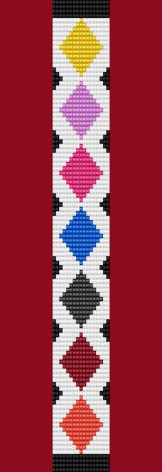 Argyle Diamond Bracelet Thin Bead Bracelet Pattern by TheBeadedCat Loom Bracelet Patterns, Seed Bead Patterns, Bead Loom Bracelets, Woven Bracelets, Peyote Patterns, Beading Patterns, Cross Stitch Patterns, Cross Stitches, Diamond Bracelets