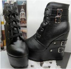 Goth Women Lace Up Multi Buckle Wedge High Heels Super Platform Ankle Boots Shoe   eBay