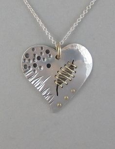 sterling silver heart pendant necklace with gold broken heart Silverware Jewelry, Spoon Jewelry, Heart Jewelry, Copper Jewelry, Clay Jewelry, Jewelry Crafts, Jewelry Art, Handmade Jewelry, Jewelry Design