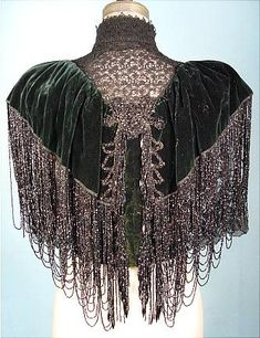 1880's/1890's HOUSE OF WORTH COUTURE Bottle Green Silk Velvet Beaded Capelet with Black Lace. @designerwallace