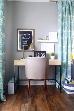 Gorgeous and functional home office in the living room // Love & Renovations