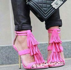 Pink, fringe heels