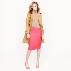 J.CREW No. 2 pencil skirt in double-serge wool $98 - in aqua, royal blue, berry pink, maple, and mustard -all AMAZING